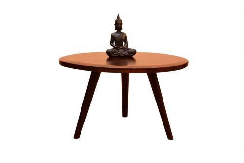 Turban round leg round top teak finish coffee table
