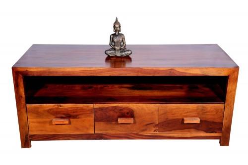 Recto three drawer  wooden handle tv unit