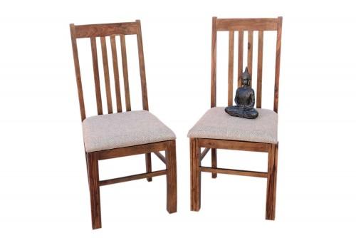 Pair of Vernal Upholstery teak finish  strip  chair
