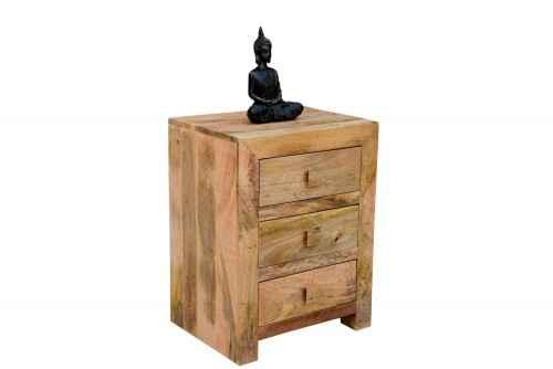 Oblong three drawer bedside