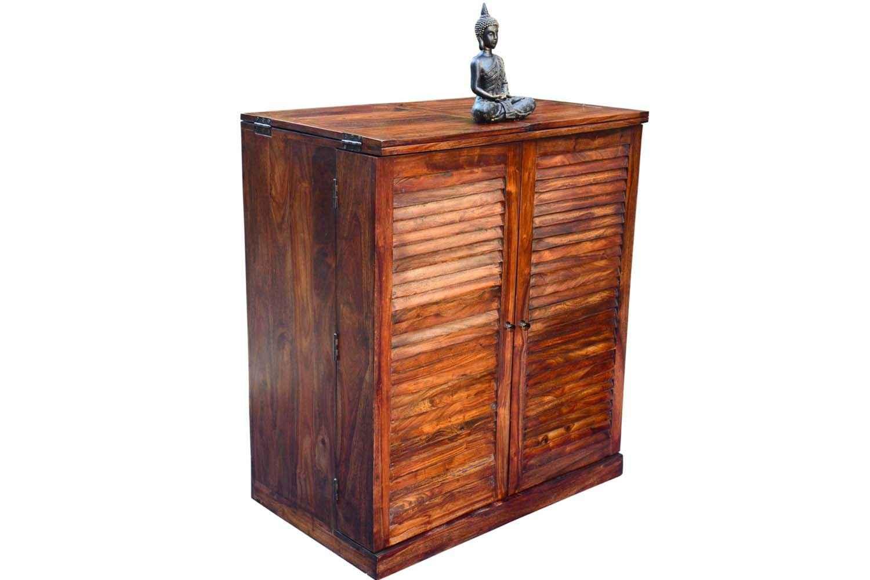 Buy Shutter Bar Cabinet With Teak Finish Bar Furniture